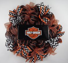 Harley davidson Deco mesh wreath Black white orange Motorcycle #Handmade