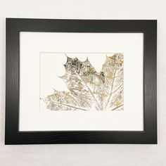 Excited to share this item from my shop: Botanical Monoprint, Gold, Silver, and Black Single Partial Maple Leaf on White Background, Matted Original Art Print Rachel Summers, Black Singles, Botanical Wall Art, Copper Color, Silver Roses, Simple Art, Neutral Colors, Original Art, Black And White