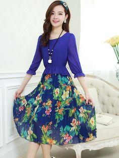 JW FIELD SERVICE | orean Style Slim Printing Lotus leaf Chiffon Casual Dress #jw #jwfashion
