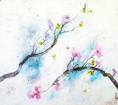 Lenie Kamstra. Blooming 1.  Uit de bloesem en lente serie. Geïnspireerd door Japanse kunst. De takken zijn als vanzelf ontstaan door inkt over het linnen te laten vloeien. Er zijn veel kleurlagen onder het wit, zodat er diepte ontstaat.