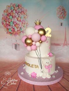 Ballon cake - cake by Zaklina 1st Birthday Cake For Girls, Twin Birthday Cakes, Cake For Baby Girl, Baby Cakes, Girl Cakes, Cupcake Cakes, Fondant Cakes Kids, Rodjendanske Torte, Gateau Baby Shower