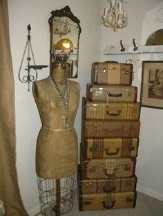 Vintage Dress Form, Rosaries & Suitcase Stack