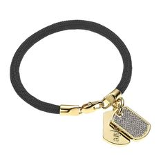 Stella Valle Women Warriors Aspire Engraved Paracord Bracelet, Gold Plated w Swarovski Crystal Dog Tag