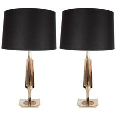 Ultra Chic Pair of Brass and Enamel Faceted Table Lamps by the Laurel Co | From a unique collection of antique and modern table lamps at https://www.1stdibs.com/furniture/lighting/table-lamps/