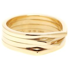 Repossi Antifer 18kt Yellow Gold Ring (8.750 RON) ❤ liked on Polyvore featuring jewelry, rings, gold, gold jewelry, gold rings, repossi, yellow gold jewelry and gold jewellery