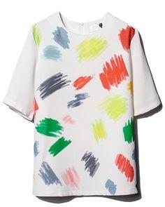White Short Sleeve Zipper Graffiti Print Blouse
