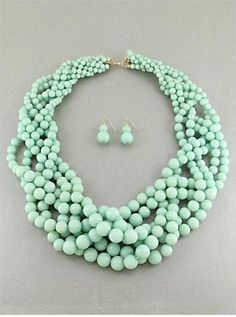 Six Strand Braided Mint Lucite Bead Gradual Chunky Necklace Earring | eBay