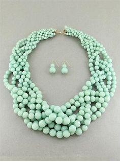 Six Strand Braided Mint Lucite Bead Gradual Chunky Necklace Earring | eBay