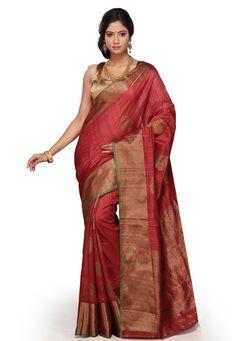 Red Pure Handloom Ghicha Silk Banarasi Saree with Blouse: SAVA183
