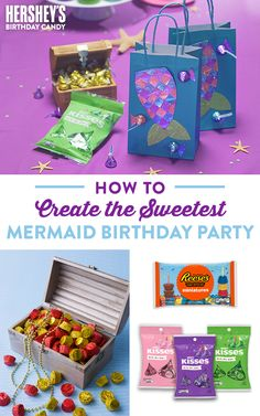 Celebrate summertime with HERSHEY'S! Explore fun summer-themed candy crafts, candy games, family activities, and more. Birthday Candy, Birthday Crafts, Baby Birthday, Birthday Ideas, Mermaid Party Favors, Mermaid Parties, Best Gifts For Him, Mermaid Diy, Party Entertainment