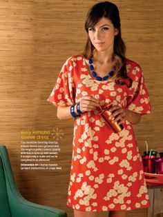 Charise Creates: kimono sleeve dress with Birch Grove Organic Knit poppies fabric!