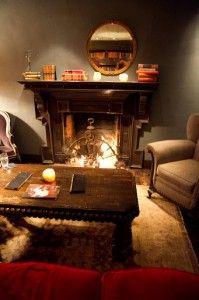 Fireside seating in the Library Room - Restaurant 1833 - Carmel, Monterey - CA