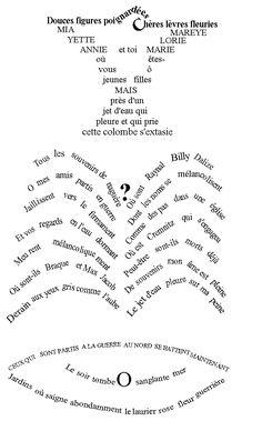 """""""La Colombe Poignardée et le jet d'eau"""" (1918) de Guillaume Apollinaire. #Poesiavisual"""