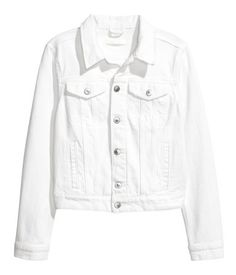 White denim. Jacket in washed denim with metal buttons. Collar, buttons at front, chest pockets with flap and button, and welt side pockets. Buttons at
