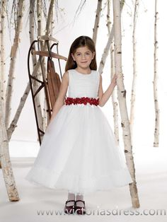 2015 Style A-line Scoop Hand-Made Flower Flower Girl Dress