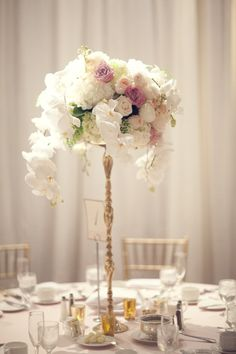 To see more details from this California wedding: http://www.modwedding.com/2014/11/14/elegant-ballroom-california-wedding-three-nails-photography/ #wedding #weddings #wedding_reception #wedding_centerpiece