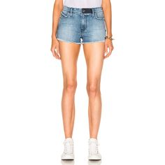 RtA Olivia High Waist Short (250 CAD) ❤ liked on Polyvore featuring shorts, jean shorts, high-waisted denim shorts, denim short shorts, high waisted jean shorts, short jean shorts and high waisted short shorts