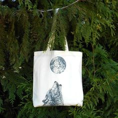 Wolf Tote Bag  Howling Wolf & Full Moon Tote by naturesmyfriend, $12.00