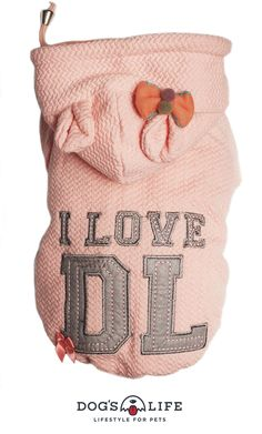 I LOVE DL Hoodie.A must have dog hoodie for all those gorgeous pooches out there. Cotton and polyester blend sweatshirts have ribbed sleeves and hem for a comfy fit. Cute and colour appliqué adds lots of character to the sweatshirt. Available in 2 mix of basic and bold colours, you won't find anywhere else!  Material: 100 % Polyester. Made with sweatshirt material and coral fleece lining. Strong two rows of DL press-stud fasteners for perfect fitting. Bold Colors, Colours, Life Jackets, Dog Hoodie, Fasteners, Hoodies, Sweatshirts, Dog Life, Reusable Tote Bags