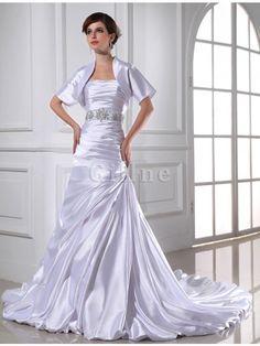 Abito da Sposa con Applique Senza Strap in Raso Satin Elastico Allacciato  Sirena 30b91ca05dd