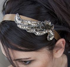Copious: Bronze angel wing on golden bronze ribbon headband