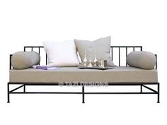 Tazi Designs - San Francisco, CA, United States. Iron daybed in linen and outdoor sofa for covered patio. Custom iron furniture available.
