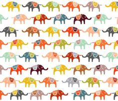 Inspiration fabric for baby boy nursery - crib skirt/change pad cover/pillow (4 yards) : elephant march, Spoonflower