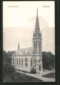 old postcard: AK Komotau / Chomutov, Evangelische Kirche Old Postcards, Notre Dame, Barcelona Cathedral, Christianity, Taj Mahal, Poster, Spaces, Retro, City