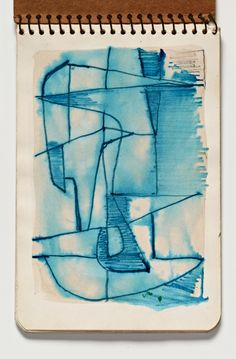 Diebenkorn, Ink wash with pen and ink, Page 01 from Sketchbook # 03 [abstraction, blue line drawing]