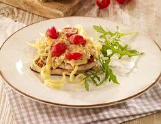 Minuten-Steaks mit Spätzle und Bergblumenkäse überbacken