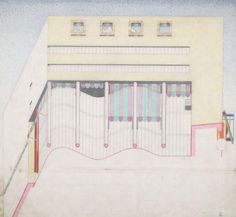 Neue Staatsgalerie, Stuttgart, Germany, View of library from below, James Stirling, 1978