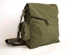 Vintage Military Bag 1960's Army Canvas Bag Vintage Army Green Cotton Bag, Green Cotton Canvas Messenger Bag, Crossbody Bag, Unisex bag