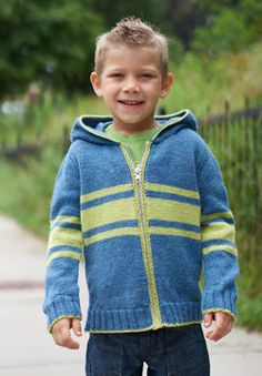 This cozy striped hoodie is a great laid-back layering piece for kids. Shown in Patons Classic Wool DK Superwash.
