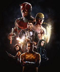 Defenders fanmade Poster (by: Camw1n@Instagram/DeviantArt) TheDefenders@Netflix2017|Daredevil/MattMurdock, IronFist, Elektra, ThePunisher, LukeCage, JessicaJones)