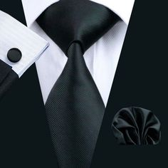 All Black Tie, Handkerchief and Cufflinks