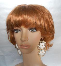 Gold Crochet Earrings-Dangle Hanging Earrings-Bridal Crochet Earrings-Beach Earrings-Bridal Accesories