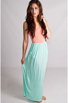 Tell Me Im Cute Maxi Dress Peach And Mint - Dresses