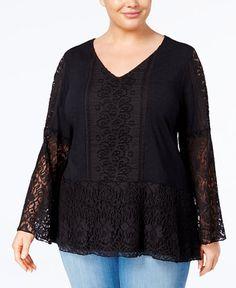 233d5362e68e2 Style   Co Plus Size Lace-Overlay Peplum Tunic