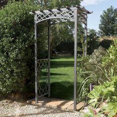 rwn wrenbury arch a beautiful iron pergola arbor design with unique roof motif for a gate