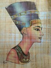 RARE  EGYPTIAN HAND PAINTED AND HAND MADE QUEEN * NEFERTITI *  REAL PAPYRUS .