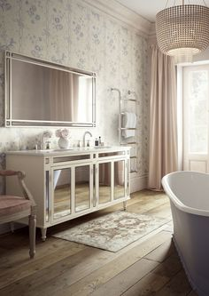 Quietly elegant and understated, the Imogen vanity unit reflects the golden era of silent movies and their romantic and glamorous set designs. Designed by Justin Van Breda exclusively for C. Bathroom Trends, Chic Bathrooms, Bathroom Vanities, Bathroom Designs, Bathroom Storage, Bathroom Ideas, Princess Bathroom, Bathroom Accessories Luxury, Bathroom Gallery