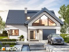 Dom w telimach (G) Modern Bungalow Exterior, Modern Bungalow House, Modern Cottage, Modern House Plans, House Extension Design, House Front Design, Roof Styles, House Styles, Bungalow Conversion