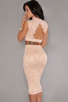 Floral Lace Bodycon Scoop Back Crop Top Midi Skirt Set Cocktail Party Club Dress in Tops & Blouses   eBay