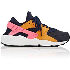 Nike Women's Air Huarache Run Premium Sneakers ($120) ❤ liked on Polyvore featuring shoes, no color, nike shoes, light weight shoes, low top, laced up shoes and round toe shoes