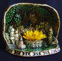 Celtic Knot Goddess Shrine - Unique Ceramic Altar Decor, Miniature shields and offering bowls in Healing Forest Green. $50.00, via Etsy.