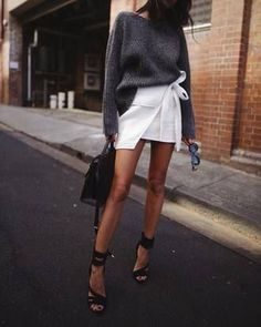 $45 Cool Casual Chic Summer Street Style Bright White Wrap Round Skirt Skort With Grey Jumper Tumblr