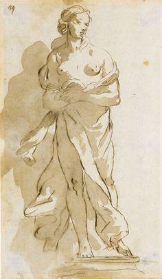 School of Giovanni Battista Tiepolo, 'Statue of a Draped Female Figure,' date unknown. Figure Painting, Painting & Drawing, Illustrations, Illustration Art, Drawing Sketches, Art Drawings, Male Figure Drawing, Guache, Classic Paintings