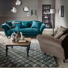 Le salon bleu canard en décoration Canapé Design, Decoration, Art Deco, Couch, Furniture, Buffet, Home Decor, Light Wood Flooring, Blue Shed Furniture