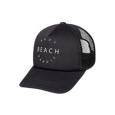 Roxy Juniors Truckin Beach Trucker Hat (68 SAR) ❤ liked on Polyvore featuring accessories, hats, beach trucker hat, mesh back hats, beach hats, graphic hats and roxy hat