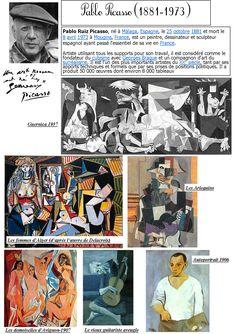 art history / Picasso and cubism Pablo Picasso, Art Picasso, History Of Modern Art, Art History Lessons, Art Lessons, Documents D'art, Art Handouts, Art Worksheets, Ecole Art